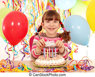 happy little girl with cake and balloons birthday party