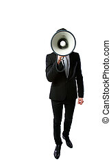 Businessman with megaphone isolated on a white background