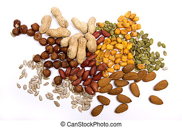 Nuts and seeds isolated on white - Healthy snack, nuts and...