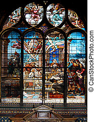 Stained-glass window in church