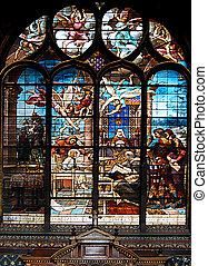 Cristal de colores, ventana, iglesia