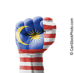 Fist of Malaysia flag painted, multi purpose concept -...
