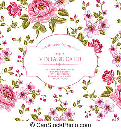Spring flowers bouquet for vintage card. Vector...