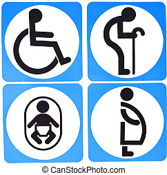 Toilet Sign with White Circle Background