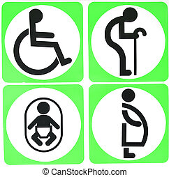 Toilet Sign with White Circle and green Background