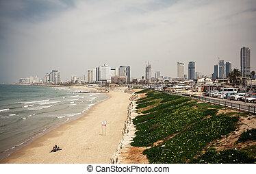 Tel Aviv beach panorama - Tel Aviv beach panorama, Israel