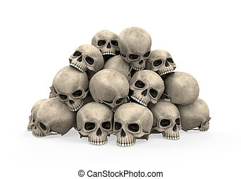Pile of Skulls isolated on white background 3D render