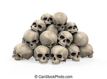 Pile of Skulls isolated on white background. 3D render
