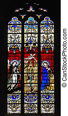Stained-glass window in church of Luxembourg