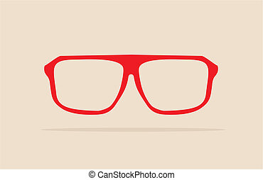Vector red nerd glasses - Red nerd glasses with thick holder...