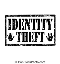 Identity Theft-stamp - Grunge rubber stamp with text...