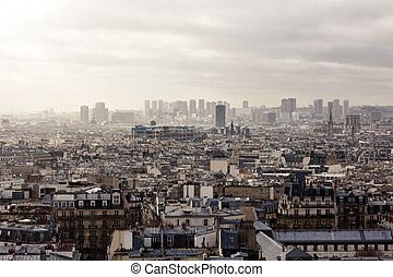 Paris from Montmartre - Aerial view cityscape of Paris from...