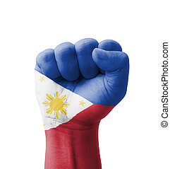 Fist of Philippines flag painted, multi purpose concept -...