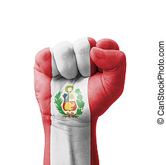 Fist of Peru flag painted, multi purpose concept - isolated...
