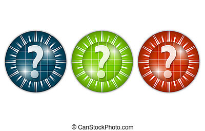 set of three colored icons with question mark