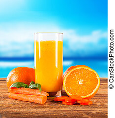 drink - Orange juice on wooden background Healthy drink with...
