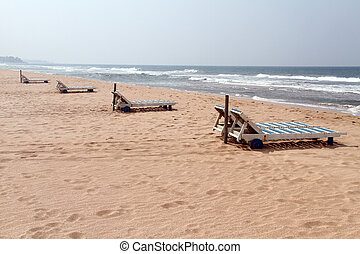 Bentota beach - Beds on the Bentota beach in Sri Lanka
