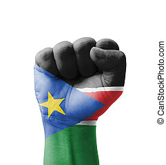 Fist of South Sudan flag painted, multi purpose concept -...