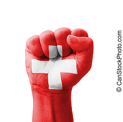 Fist of Switzerland flag painted, multi purpose concept -...