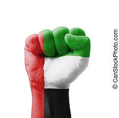 Fist of UAE (United Arab Emirates) flag painted, multi...