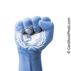 Fist of UNICEF United Nations Childrens Fund flag painted,...
