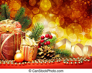 Christmas fir tree with gifts and christmas decoration