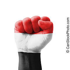 Fist of Yemen flag painted, multi purpose concept - isolated...