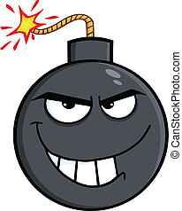 Evil Bomb Cartoon Character  Illustration Isolated on white