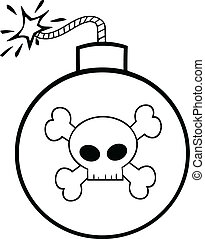 Black and White Cartoon Bomb With Skull And Crossbones...