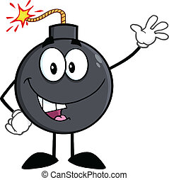 Funny Bomb Cartoon Character Waving