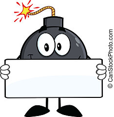 Funny Bomb Holding A Banner - Funny Bomb Cartoon Character...