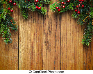 Christmas fir tree on wooden board - Christmas fir tree on...