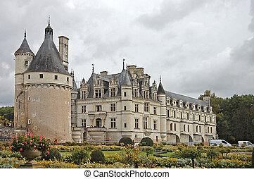 Chateau and Garden Chenonceau castle in France