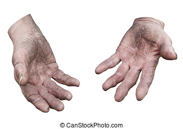 Dirty hands of a woman. Clipping path