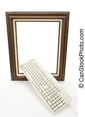 Digital Art - Wood Picture Frame and computer keyboard,...