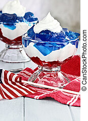 Fourth of July Dessert - Gelatin layered dessert of cubes of...
