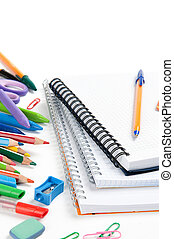 School stationery isolated over white with copyspace