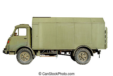 Isolated Vintage Army Truck - Isolation Of A Green Vintage...