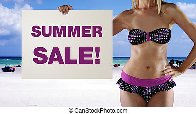 summer sale - A gorgeous model holding a summer sale sign in...