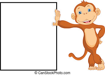 cute monkey with blank sign illustration