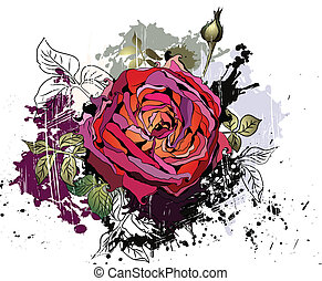 Beautiful grunge background with rose. Beautiful vector...