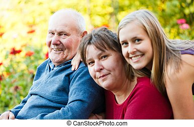 Grandfather with Alzheimers Disease - Family visiting...