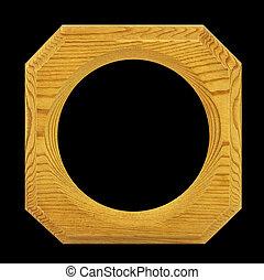 Wood frame isolated on black background