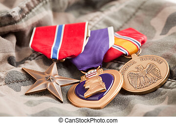 Bronze, Purple Heart and National Defense Medals on...