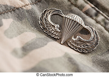 Paratrooper War Medal on a Camouflage Material