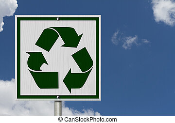Recycle Sign, A Square American road warning sign with...