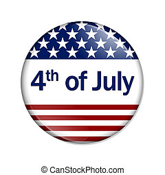 4th of July Button , A white button red stripes and stars...