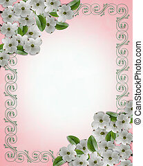 Wedding invitation Dogwood Border - Image and illustration...