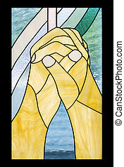 praying hand, cross in stained glass style
