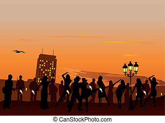 Sunset Party - Evening Party with dancing people. Sunset sky...